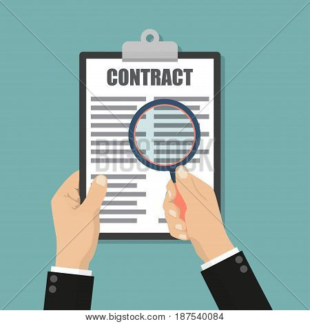 Financial accounting concept. Businessman holding magnifying glass with contract