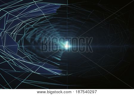 Abstract green polygonal tunnel with light at the end. 3D Rendering