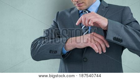 Digital composite of Midsection of businessman pointing on hand