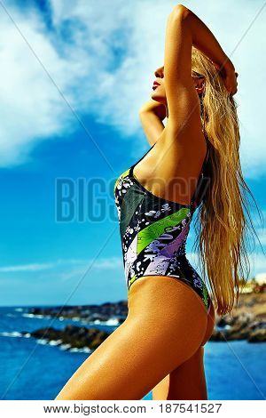 Beautiful Sexy Hot Woman Model With Blond Hair In Colorful Bikini Posing On Summer Beach