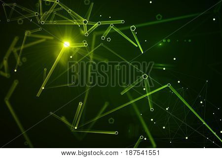 Abstract green pattern background. Technology concept. 3D Rendering
