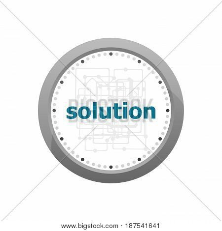 The Word Solution On Digital Screen, Business Concept . Abstract Wall Clock Isolated On A White Back