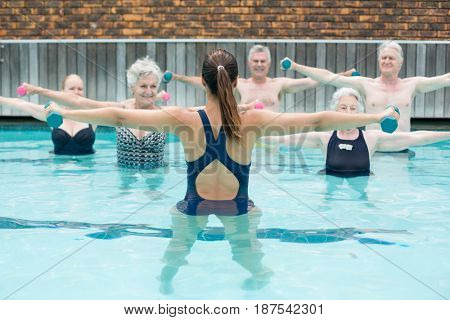 Rear view of instructor with senior swimmers exercising in swimming pool