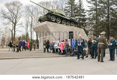 Kirishi, Russia - 9 May, People at the monument to the tank, 9 May, 2017. Holding a festive rally dedicated to the Victory Day.