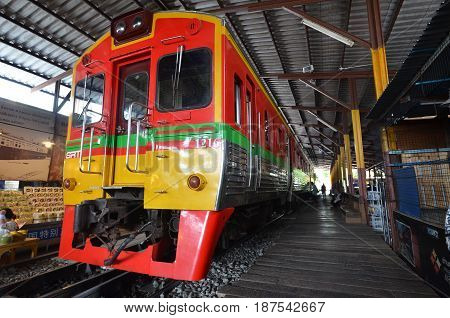 Diesel Locomotive Train Stop At Mae Klong
