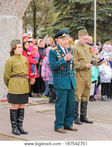 Kirishi, Russia - 9 May, Speech by a veteran of the war, 9 May, 2017. Holding a festive rally dedicated to the Victory Day.
