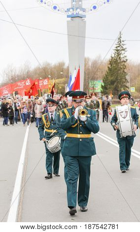 Kirishi, Russia - 9 May, Military musicians in front of the column of the immortal regiment, 9 May, 2017. Preparation and conduct of the action Immortal regiment in small cities of Russia.