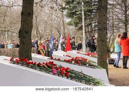 Kirishi, Russia - 9 May, Monument to the fallen heroes, 9 May, 2017. Laying wreaths and flowers in memory of the fallen at the Eternal Flame.