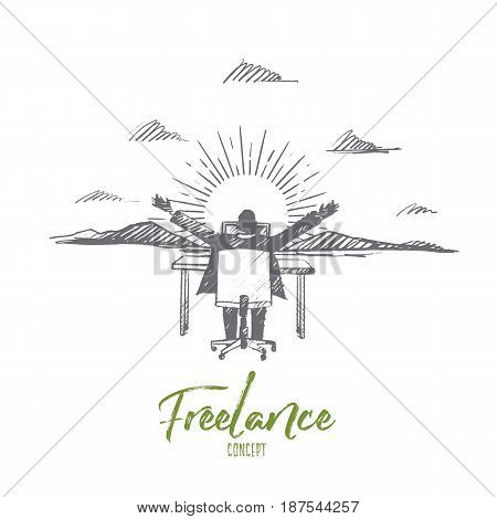 Vector hand drawn Freelance concept sketch. Man sitting on chair rear view and working with his laptop with hands raised, mountains and sun at background