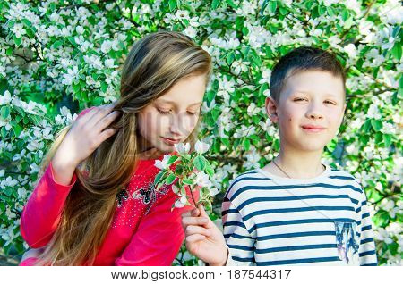 Boy in a striped T-shirt giving flowers to a girl in nature