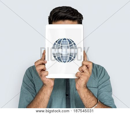 Man holding network graphic overlay digital device
