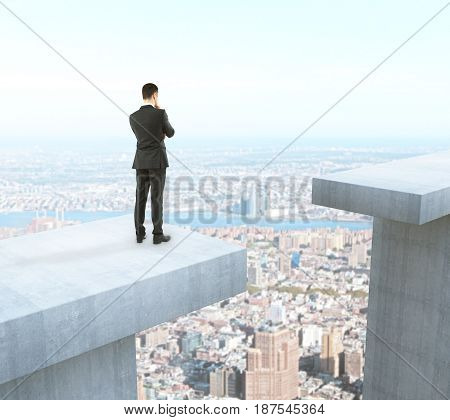 Businessman thinking how to overcome gap on city background. Difficulty concept. 3D Rendering