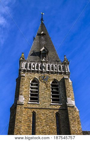 Saint-Hubert church, Aubel, in Belgium, wide angle and blue sky