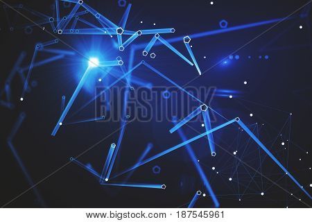 Abstract blue pattern background. Technology concept. 3D Rendering