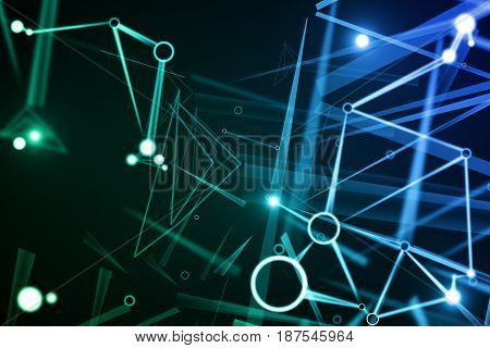 Abstract blue pattern backdrop. Technology concept. 3D Rendering