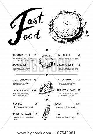 Restaurant fast food menu with prices. Cafe snack catalog, junk food card with linear sketches. Delicious fast food vector template with hand drawn sandwich, hamburger and soda drink pencil doodles
