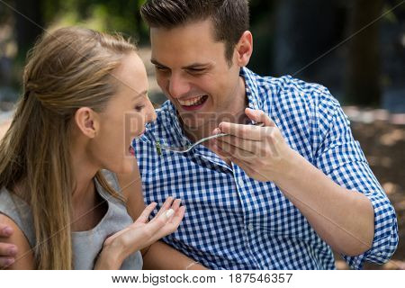 Smiling young man feeding woman at outdoor restaurant