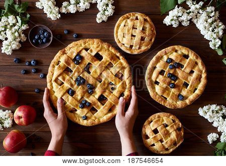 Homemade organic apple pie pies ready to eat hold female hands on dark wooden table with flowers, blueberry and apples. Traditional dessert on Independence Day. Food flat lay background