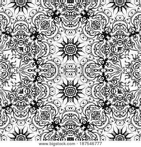 Abstract Seamless Pattern, Black Contours Isolated on White Background. Vector