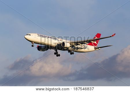 Borispol, Ukraine - May 20, 2017: Turkish Airlines Airbus A330-300 aircraft on final approach to the Borispol International Airport on May 20, 2017. Editorial use only
