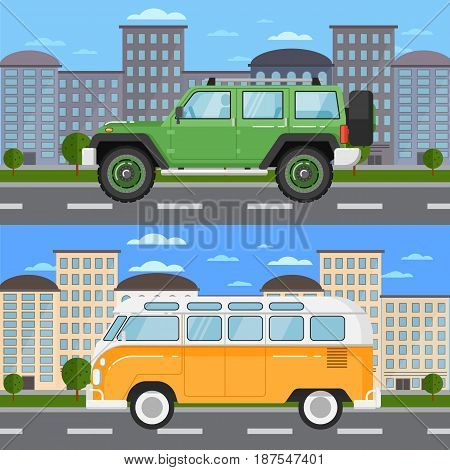 Off road car and retro bus in urban landscape. City street road traffic vector illustration, cityscape background with skyscrapers. People transportation, automobile service, auto vehicle banner