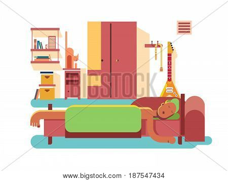 Man sleep in bed. Dream, bedroom interior, vector illustration