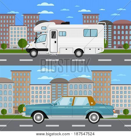 Classic retro car and modern camper van in urban landscape. City street road traffic vector illustration, cityscape background. People transportation, automobile service, auto vehicle banner
