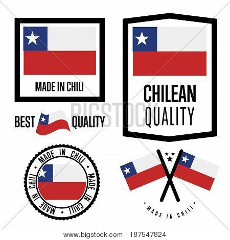 Chili quality isolated label set for goods. Exporting stamp with chilean flag, nation manufacturer certificate element, country product vector emblem. Made in Chili badge collection.
