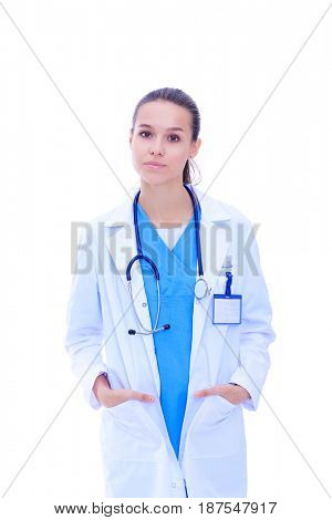 Beautiful young woman in white coat posing with hand in pocket