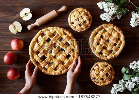 Homemade organic apple pie pies bakery products hold female hands on dark wooden kitchen table with flowers and apples. Traditional dessert on Independence Day. Flat lay food background.