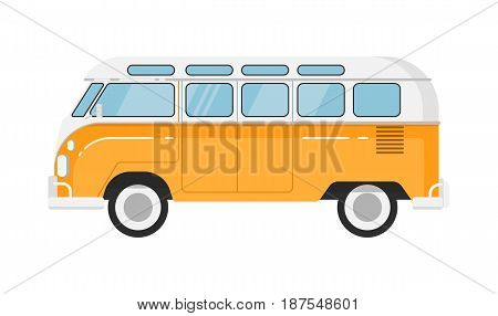 Classic retro bus isolated vector illustration on white background. Vintage old school public auto vehicle, people city transport in flat design
