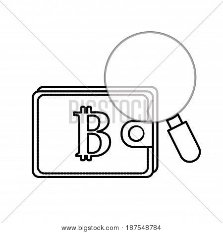 line bitcoin symbon in the wallet with magnifying glass, vector illustration