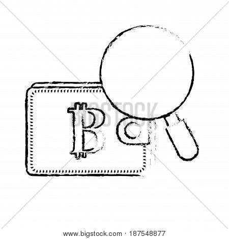 figure bitcoin symbon in the wallet with magnifying glass, vector illustration
