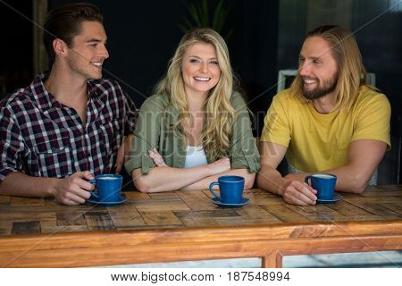 Portrait of happy woman with male friends at table in coffee shop