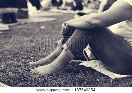 Adult Woman Sitting in The Park Alone