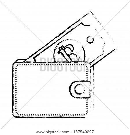 line nice wallet to save bill money, vector illustration