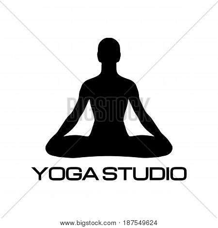 Lotus, yoga studio icon meditation pose, relaxation, health body, position exercise, healthy meditating illustration. Lifestyle, zen, activity symbol silhouette, relax vector