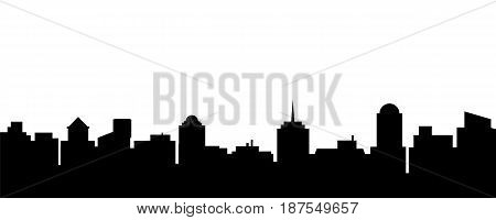 Black vector city silhouette. Vector Illustration of architectural buildings
