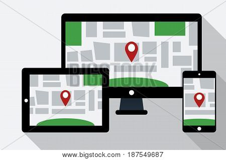 Computer tablet PC and mobile phone with online navigation map on the screen. Map with GPS location mark displayed on digital devices. Flat style vector illustration