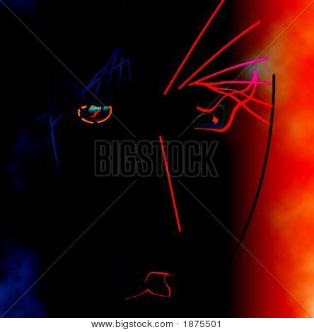 Female silhouette on a black and bright red background. Abstract drawing. poster