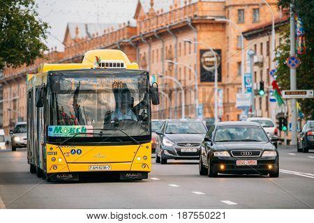 Minsk, Belarus - September 3, 2016: Public MAZ bus on summer Pobediteley Avenue street in Minsk, Belarus