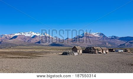 Small Village Of Shepherds Of Llamas In The Andean Mountains. Andean Highlands