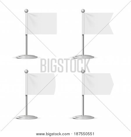 Realistic Template Blank White Flags Pocket Table for Business Promotion and Advertising. Vector illustration