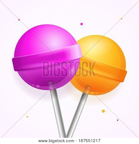 Realistic Glossy Color Round Sweet Candy Lollipops Set Isolated on White Background. Vector illustration