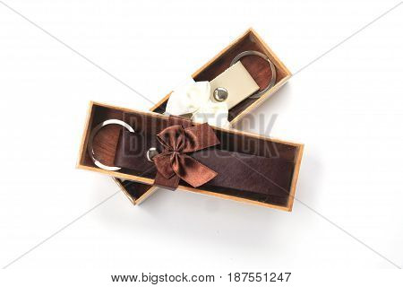 wedding gift for guest Key ring leather in box on white background