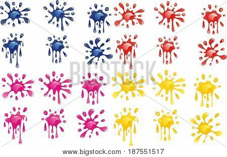 Set of decorative blots. Blots in four colors on transparent background. Vector illustration