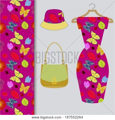 Set of trendy women's clothing and accessories.Summer style and colorful palette .Vector illustration.