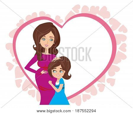 Happy kid girl hugging pregnant mother's belly - card , vector illustration