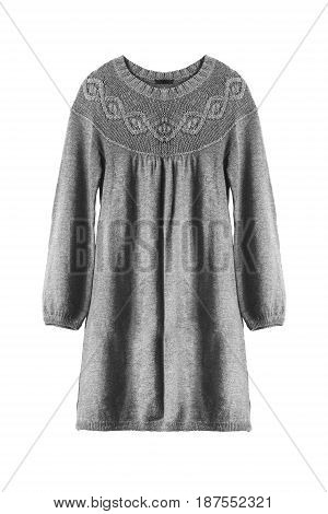 Knitted wool gray tunic dress on white background