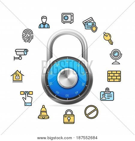 Data Security Concept and Realistic Blue Combination Padlock Technology for Business Information. Vector illustration